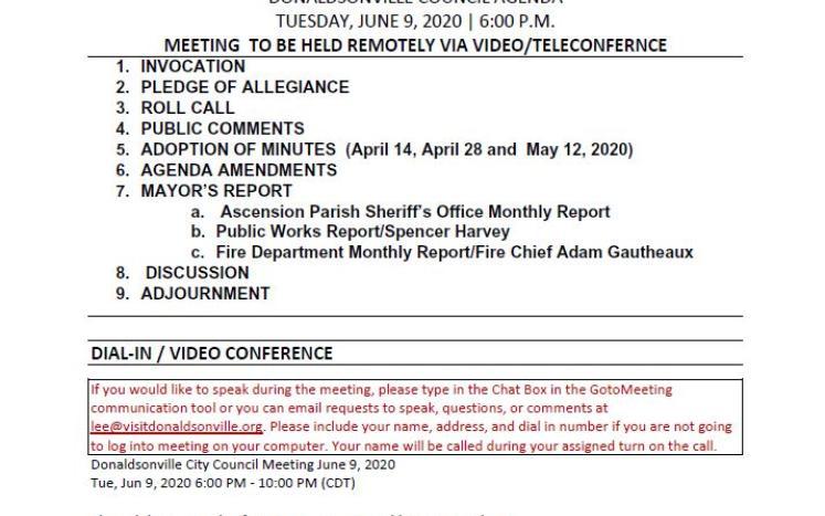 City Council Meeting Agenda