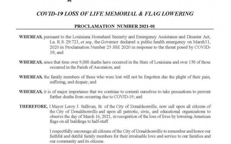 Flag Lowering Proclamation Image