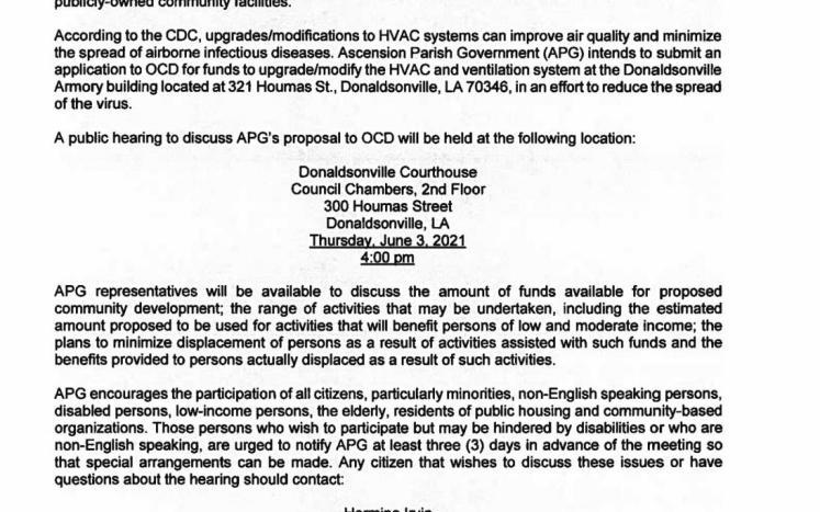 Public Hearing flyer for CDBG-CV HVAC IMPROVEMENTS PROGRAM